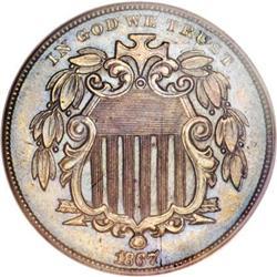 1867 5C Shield Five Cents, Judd-573,