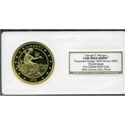 "Private ""1876 $100 Gold Union"" Ultra Cameo Gem"