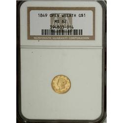1849 G$1 Open Wreath MS62 NGC