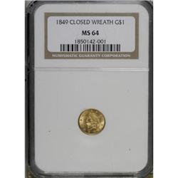 1849 G$1 Closed Wreath MS64 NGC