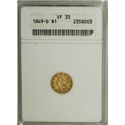 1849-D G$1 VF35 ANACS