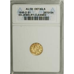 1849-D G$1 AU50 Details ANACS