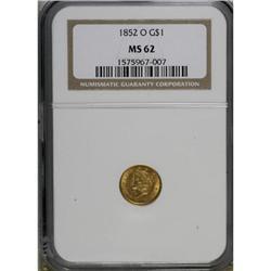 1852-O G$1 MS62 NGC