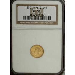 1854 G$1 Type Two AU58 NGC