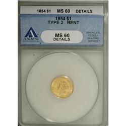 1854 G$1 Type Two--Bent--ANACS. MS60 Details