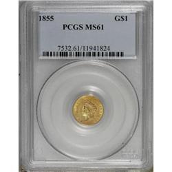 1855 G$1 MS61 PCGS