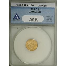 1855-O G$1 AU50 Details ANACS
