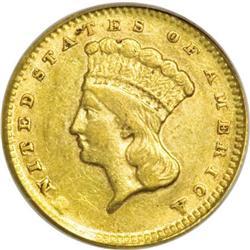 1858-D G$1 AU50 PCGS
