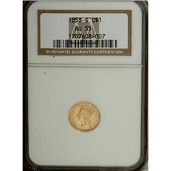 1858-S G$1 AU55 NGC