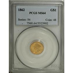 1862 G$1 MS64 PCGS