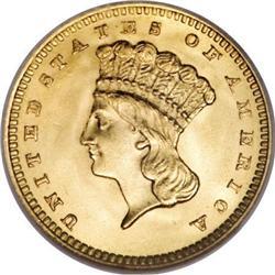 1862 G$1 MS65 NGC. CAC