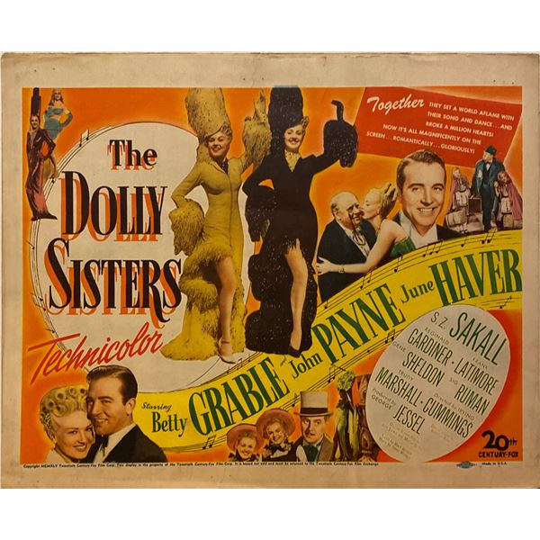 The Dolly Sisters 1945 original vintage insert card