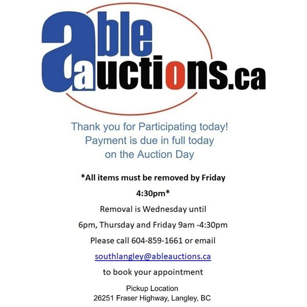 ALL ITEMS MUST BE REMOVED BY WEDNESDAY UNTIL 6:00PM & THURSDAY & FRIDAY 9AM - 4:30PM BY APPOINTMENT