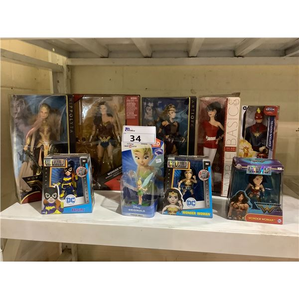 ASSORTED NEW IN PACKAGING TOYS INCLUDING: WONDER WOMAN, CAPTAIN MARVEL, TINKER BELL, & MORE
