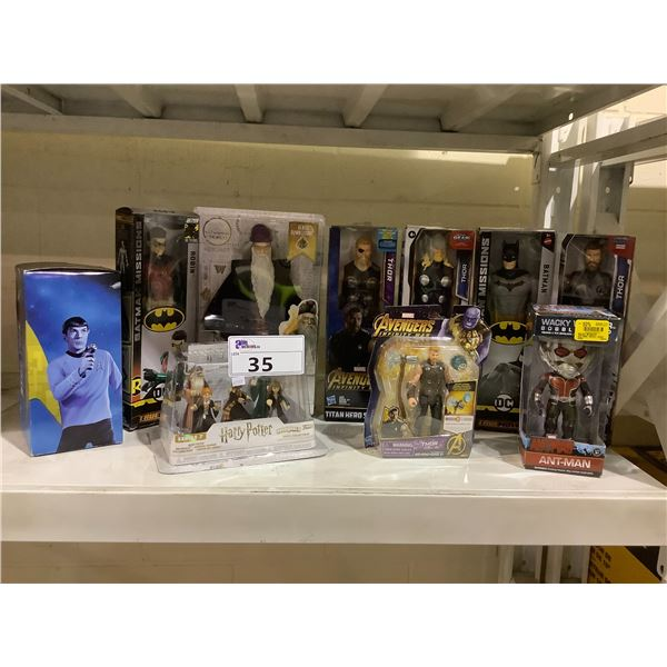 ASSORTED NEW IN PACKAGING TOYS INCLUDING: ROBIN, BATMAN, THOR, HARRY POTTER, & MORE