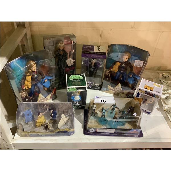ASSORTED NEW IN PACKAGING TOYS INCLUDING: BEAUTY & THE BEAST, CATWOMAN, CAPTAIN MARVEL, & MORE