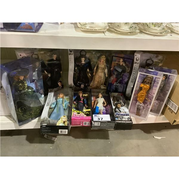 ASSORTED NEW IN PACKAGING TOYS INCLUDING: BARBIES, MALEFICENT, & AVENGERS