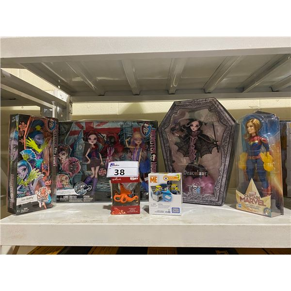 ASSORTED NEW IN PACKAGING TOYS INCLUDING: MONSTER HIGH, DESPICABLE ME, CAPTAIN MARVEL, & FINDING