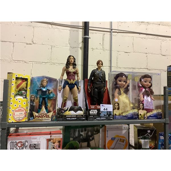 6 ASSORTED NEW IN PACKAGING TOYS INCLUDING: STAR WARS, WONDER WOMAN, BEAUTY & THE BEAST, & MORE