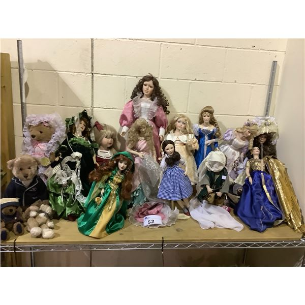 ASSORTED COLLECTIBLE DOLLS & TEDDY BEARS