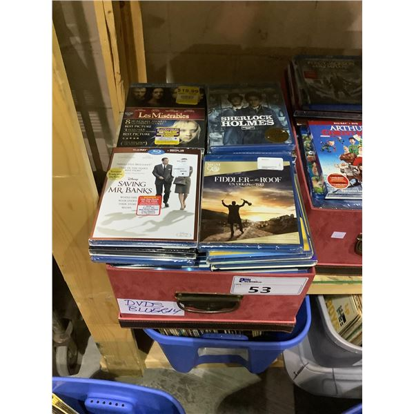 BOX OF ASSORTED BLU-RAYS AND DVDS
