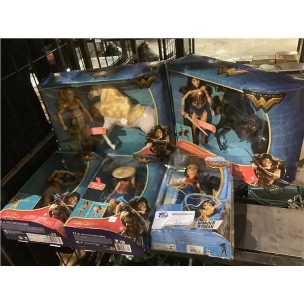 5 NEW IN PACKAGING WONDER WOMAN TOYS