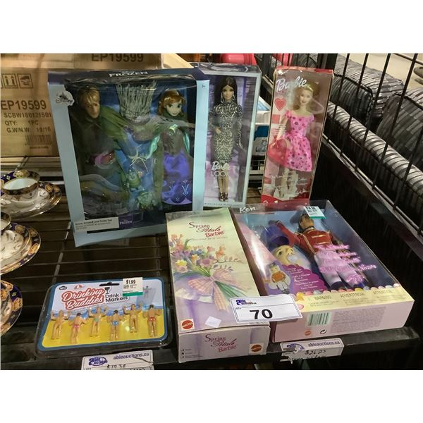 ASSORTED NEW IN PACKAGING TOYS INCLUDING: FROZEN, BARBIE, & DRINKING BUDDIES