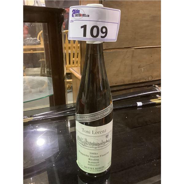 UNOPENED BOTTLE OF TONI LORENZ 2000 9.5%