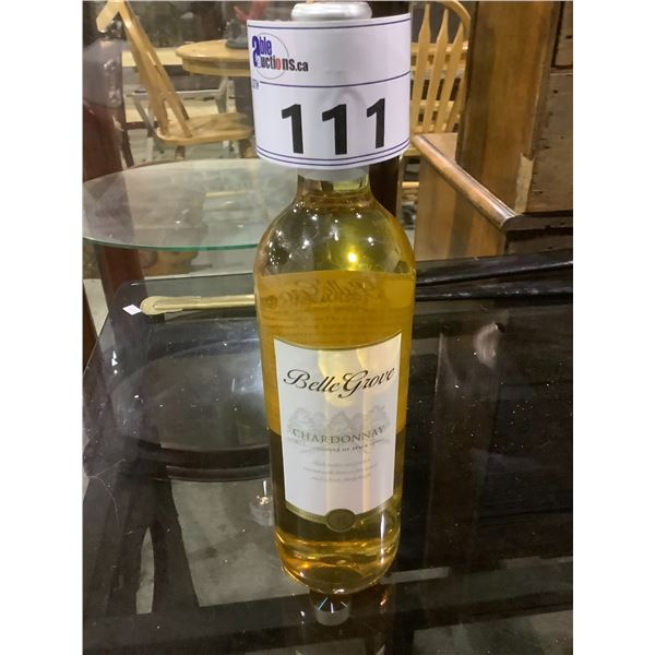 UNOPENED BOTTLE OF BELLE GROVE CHARDONNAY PRODUCT OF SPAIN 2013 11.5%