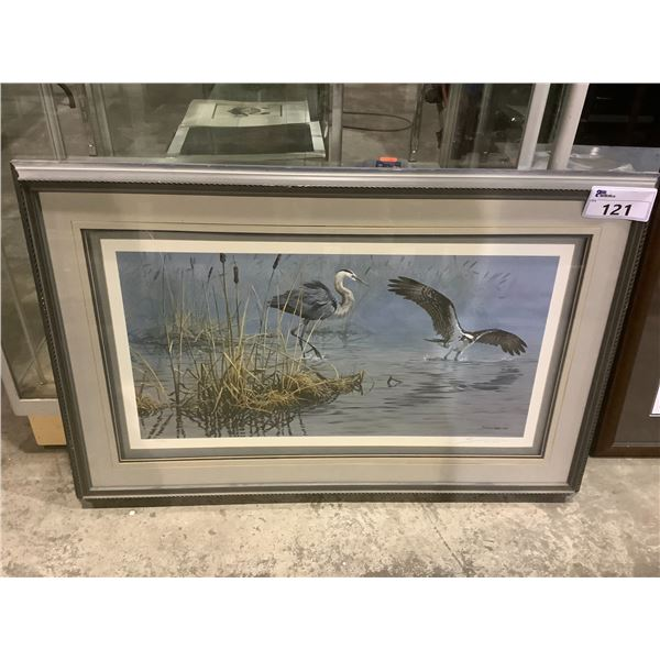 """FRAMED JOHN SEEREY-LESTER """"CONFLICT AT DAWN-GREAT BLUE HERON AND OSPREY"""" LEP 165/950 SIGNED BY"""