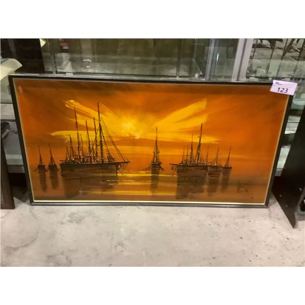 """FRAMED MID CENTURY MODERN ORIGINAL OIL ON BOARD PAINTING """"SAILING SHIPS AT SUNSET"""" SIGNED BY ARTIST"""