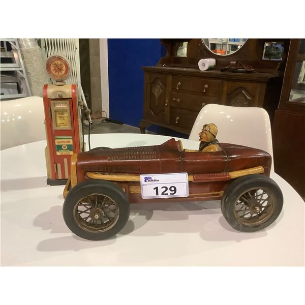 HEAVY WOODEN CRAFTED NOSTALGIC SPORTS CAR AND GAS STATION PUMP
