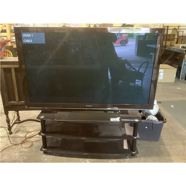 "65"" PANASONIC VIERA 3D PLASMA HDTV MODEL TC-P65VT25 ON STAND WITH POWER CORD (NO REMOTE)"