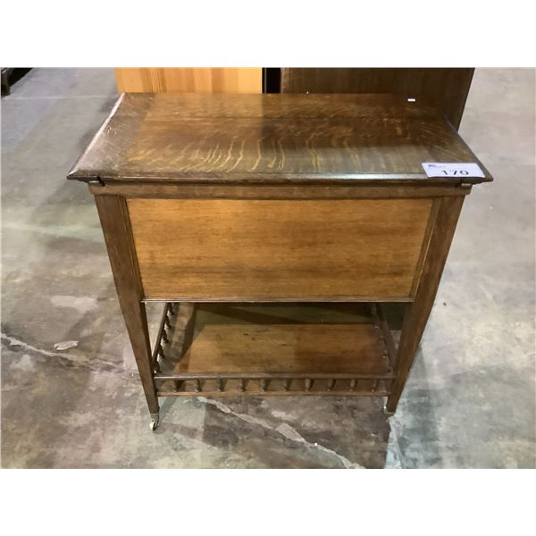 """MAPLE AND CO. SOLID OAK ROLLING DRY BAR APPROX 30"""" X 17.5"""" X 31.75"""""""