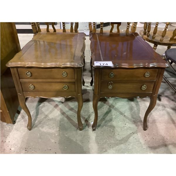 """2 DOUBLE DRAWER NIGHT STANDS APPROX 27.5"""" X 17"""" X 22"""""""
