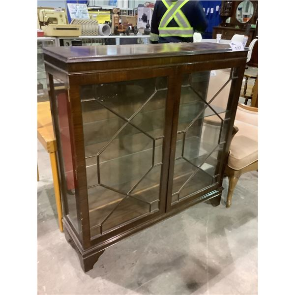 """GLASS FRONT DISPLAY CABINET, NO KEY APPROX 42.5 X 12.5 X 44.5"""""""