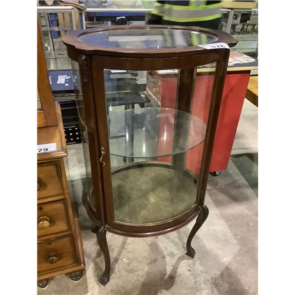 """ANTIQUE MAHOGANY WITH CURVED GLASS CURIO CABINET APPROX 23.5"""" X 19"""" X 44.5"""""""