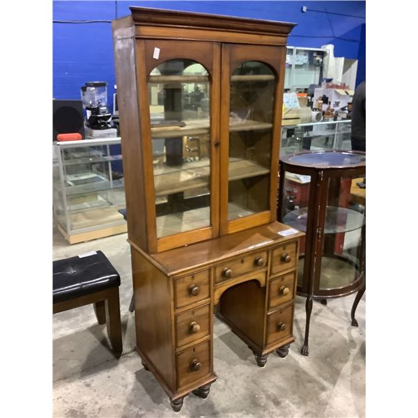 """ANTIQUE 7 DRAWER KNEE HOLE DESK WITH CHINA CABINET BACK APPROX 17.5"""" X 32"""" X 69.5"""""""