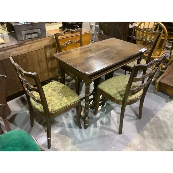 ANTIQUE WALNUT DINING TABLE WITH 3 LEAVES AND 4 CHAIRS
