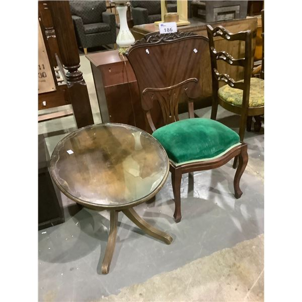 GLASS TOP SIDE TABLE AND CHAIR