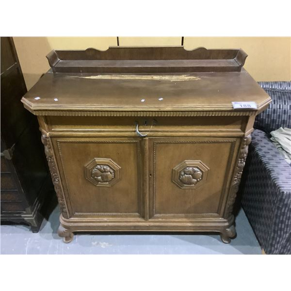 """CARVED BELGIUM SIDEBOARD VISIBLE DAMAGE, WITH KEY, BROKEN HANDLE APPROX 47"""" X 24"""" X 41"""""""