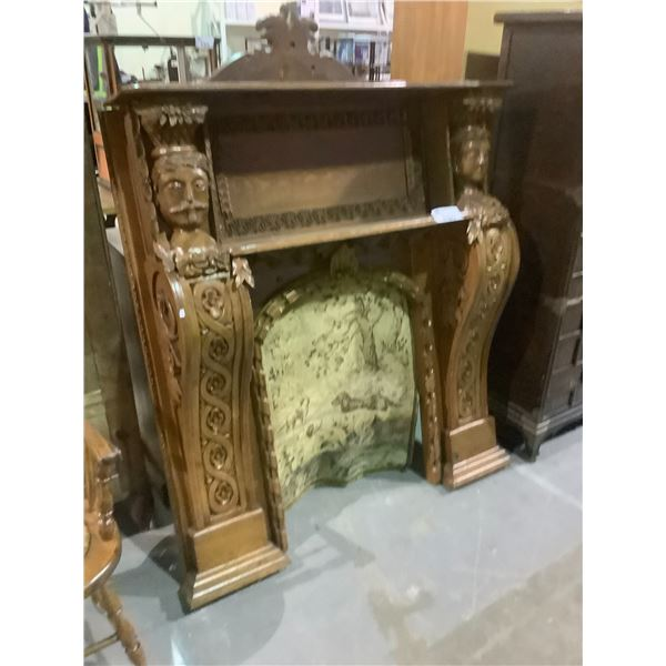 """HEAVILY CARVED ANTIQUE CANADIAN MADE FIREPLACE MANTLE WITH TAPESTRY APPROX 50"""" X 56"""""""