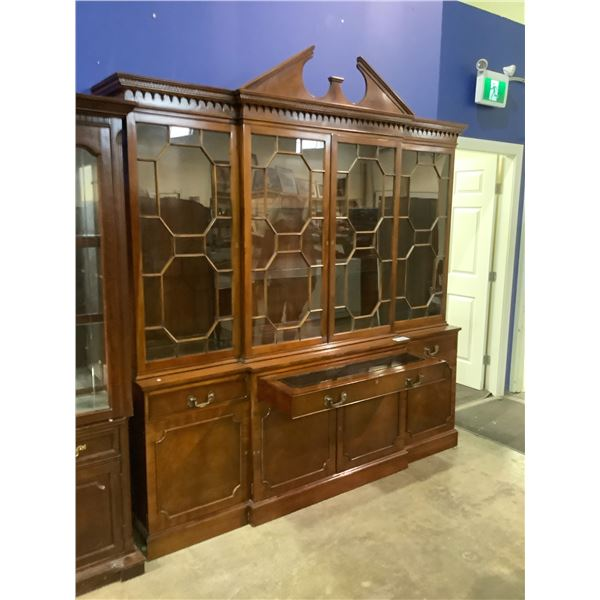 """BEAUTIFUL MAHOGANY BUFFET AND HUTCH WITH WRITING DESK PULL OUT WITH KEYS 86 X 17 X 84H"""""""
