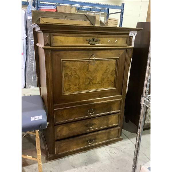 ANTIQUE LOCKING CABINET WITH INTERIOR DRAWERS WITH KEY