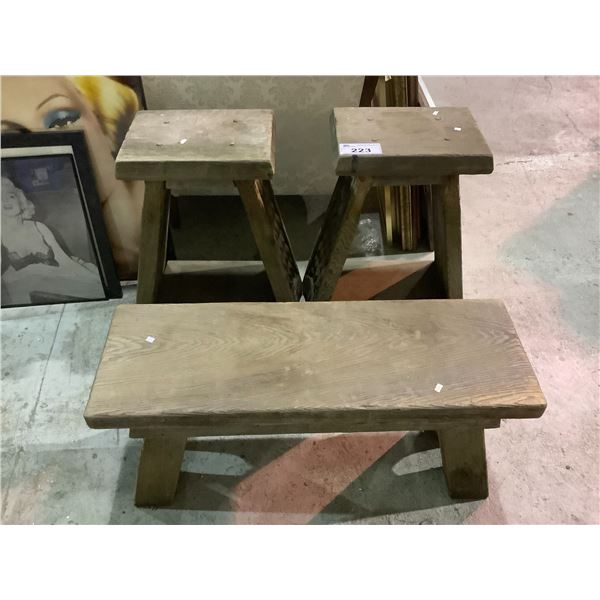 2 WOODEN STOOLS & BENCH