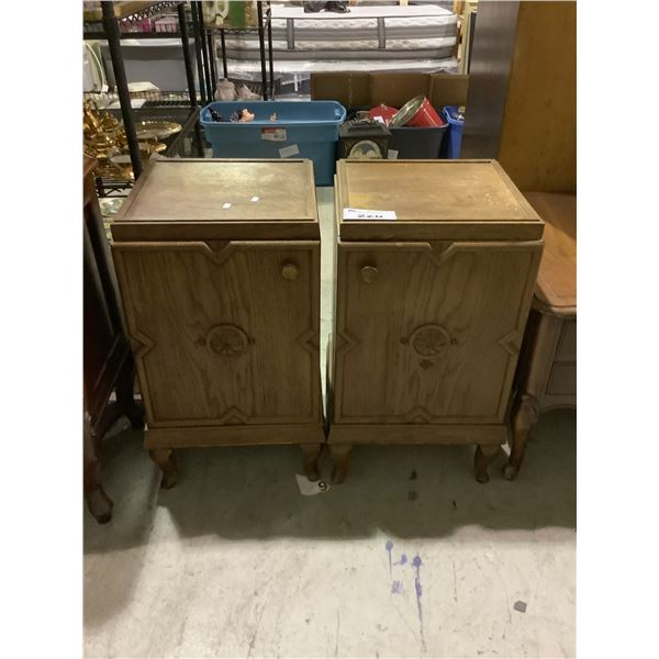 2 CABINET END TABLES