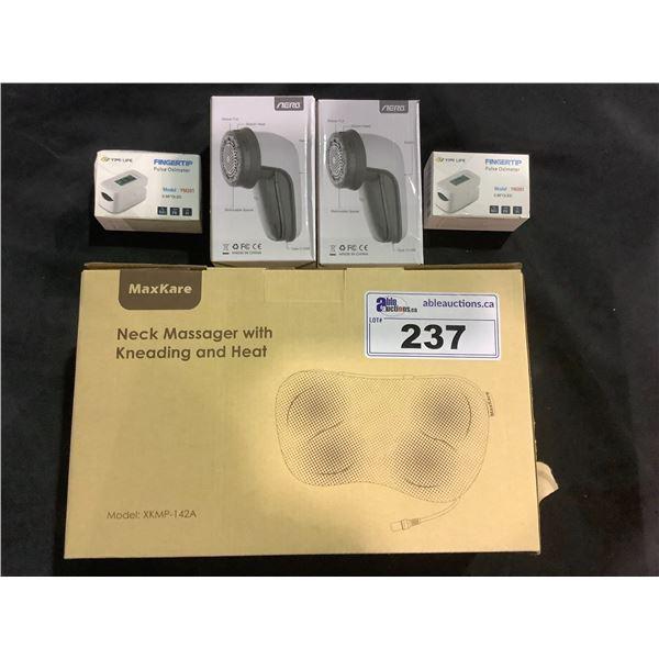MAXKARE NECK MASSAGER WITH HEATING AND KNEADING- RETAILS FOR $199.99, 2 ELECTRONIC LINT REMOVERS