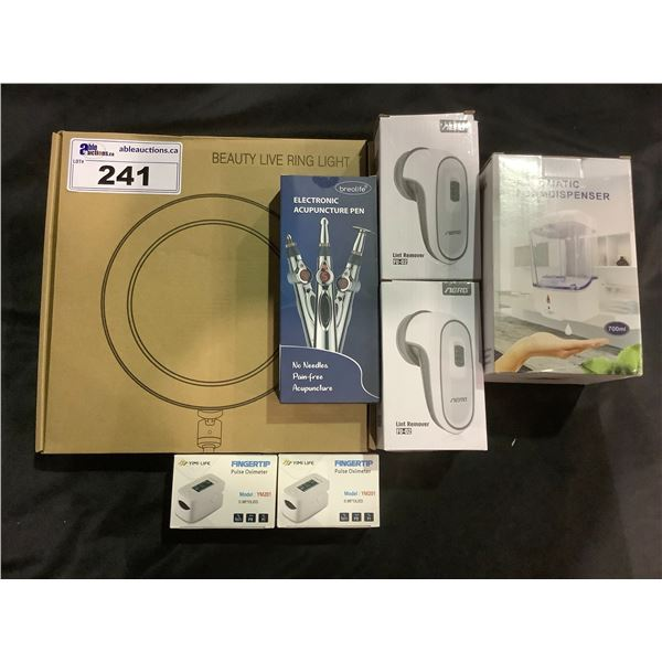 """10"""" LED RING LIGHT WITH TRIPOD, 1 AUTO FOAMING SOAP DISPENSER, 2 AERB LINT REMOVERS AND FABRIC"""