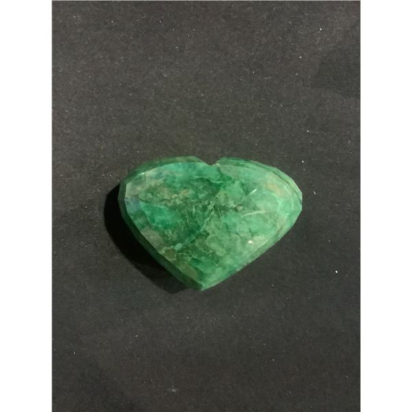 ROUGH MINERAL POLISHED EMERALD HUGE 835.90CT 167.18 GRAMS 68 X 51 X 32MM HEART CUT BRAZIL COLOUR