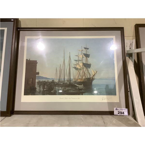 FRAMED AND ARTIST SIGNED LEP 437/750 BY JOHN STOBART COWELL'S WHARF SAN FRANCISCO IN 1866